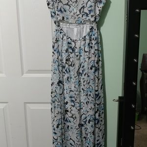 Dresses & Skirts - Blue, white and black opened back maxi dress